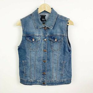 New Directions Button Down Denim Vest Sleeveless